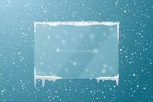 Winter Christmas Background With Transparent Glass Frosted Snowy Frame In Glassmorphism Style. Vector Illustration.