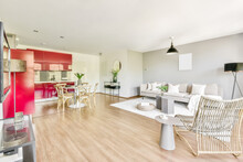 Living Room And Kitchen In Open Plan Flat