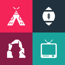 Set Pop Art Retro Tv, Grand Canyon, American Football Ball And Indian Teepee Or Wigwam Icon. Vector