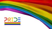 Pride Flag Waving. Color Background. Lgbtq Community Gay Event. Vector Illustration.