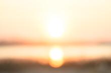 Blurred Orange Color Sky On Sunset Background