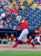 Red Shirt Baseball Hitter At Bat