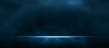 Asphalt Blue Dark Street With Smoke. Rays, Spotlights Light . Empty Dark Scene With Neon Light.
