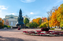 Catherine The Great Monument With Alexandrinsky Theater At Background In Autumn, Saint Petersburg, Russia