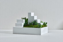 Miniature White Stair On The Green Grass,