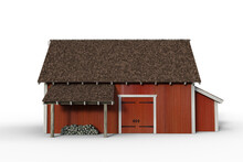 Side View 3D Rendering Of A Red Wooden Barn Isolated On A White Background.