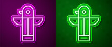 Glowing Neon Line Canadian Totem Pole Icon Isolated On Purple And Green Background. Vector