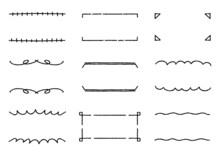 手書きのシンプルなフレームセット(デコボコの線)
