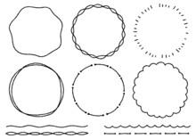 手書きのシンプルな丸形フレームセット(デコボコの線)