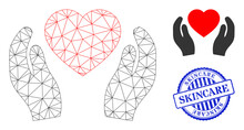 Web Net Romantic Heart Care Hands Vector Icon, And Blue Round SKINCARE Corroded Watermark. SKINCARE Stamp Seal Uses Round Shape And Blue Color.