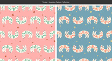 Vector Simple And Cute Cat Animal Illustration Motif Seamless Repeat Pattern 2 Color Ways Collection Bundle Set Kids Fabric Digital Art Fashion Textile