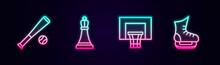 Set Line Baseball Bat With Ball, Chess, Basketball Backboard And Skates. Glowing Neon Icon. Vector