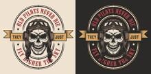 Skull In The Pilot Retro Helmet