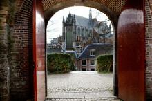 Cityscape Skyline Of The Hooglandse Kerk Church In Leiden, The Netherlands