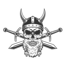 Vintage Bearded Viking Skull