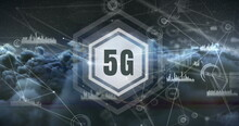 5G Surrounded By Hexagon On Grey Background 4k