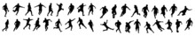 Sports Icons In White Background. Sportsman Running Vector Silhouettes. Marathon Racers Running. Action Sports Silhouettes. Silhouette, Sport, Icon, Vector, Athlete, Person, Man.