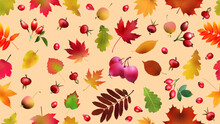 3d Autumn Seamless Pattern With Autumn Leaves, Rose Hips And Paradise Apples.