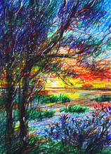 Beautiful Sunset Over The Lake. Romantic Landscape. Lake Shore. Handwork Pattern With Colored Watercolor Pencils. Drawing To Print The Book.