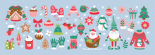 Christmas Holiday Cute Elements Set. Childish Print For Cards, Stickers And Decoration