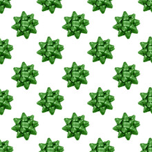 Green Bow Isolated On White. Christmas Seamless Pattern Background. Winter Holiday Ornaments, Festive Decoration, Present Wrapping.