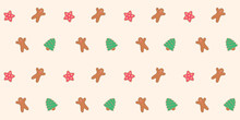 Seamless Pattern With Gingerbread Cookies And Icing. Vector Illustration.