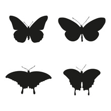 Illustration Vector Silhouette Shape Of Butterfly, Very Suitable For Flyer Design, Web Design Or As An Object Insert, Or Just A Vector Collection, Also Very Suitable For Flying Animal Themed Designs