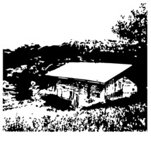 Landscape Nature Cabin Woods #4 Line Art Silhouette Design Element Art SVG EPS Logo PNG Vector Clipart Cutting Cut Cricut