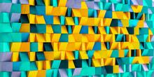 Colorful Wood Block Wall Cubic Texture Background . Modern Contempolary Woodwork Wallpaper Artwork Design .