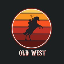 Illustration Vector Graphic Of Cowboy And Horse,Old West,Suitable For Background,Banner,Poster,etc.