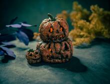 Calabaza Jack O´Lantern De Papel Maché Decoración Halloween Tierno Misterioso Asustado  Dulce O Truco Fiesta Celebraciones Octubre Otoño