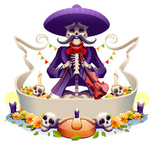 Dia De Los Muertos Mexican Holiday Skeleton Old Man Musician Violin. Day Of Dead Greeting Card