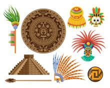 Maya Elements Cartoon Vector Illustration Set. Icons Of Ancient Pyramid, Aztec Calendar, Eagle Feather Masks And Stone. Ethnic Culture, Mexico Art, Inca Idol, Chichen Itza Artifact Concept