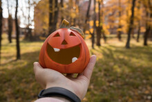 A Man Holds A Bright Orange Decorative Pumpkin In His Hand In The Woods On Halloween In Sunny Weather