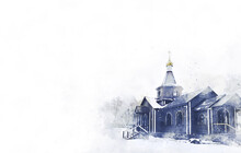 Russian Russian Orthodox Church Of St. Vladimir, St. Nicholas The Wonderworker In The Russian City. Orthodox Church With, Bell Tower, Domes. Easter. Palm Sunday. Forgiveness Sunday. Watercolor Drawing