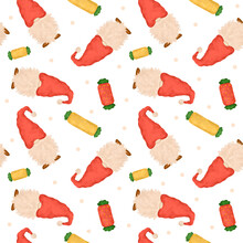 Christmas Gnomes Seamless Pattern, Cartoon Gnome In Red Hat With Candy Cane Repeat Background For Wrapping Paper Printable