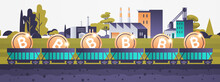 Minecart On Rails With Bitcoins Blockchain Cryptocurrency Mining Concept Industrial Panorama