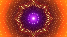 Abstract Sweet Purple Orange Glowing Dotted Lines Neon Led Octagonal Tunnel With Light Beam Lens Flare Background