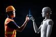 Leinwandbild Motiv Technician or engineer work with robot in factory