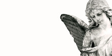 Abstract Image With Background And Place For Caption And Fragment Of Tragic Sad American Angel. Black And White Concept.