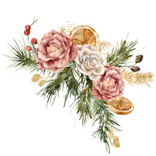 Watercolor Christmas Bouquet Of Pink And Gold Roses, Pine Branches And Lemon. Hand Painted Holiday Card Isolated On White Background. Holiday Illustration For Design, Print, Background.