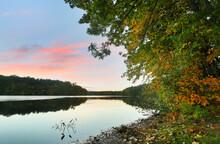 Beautiful New England Fall Foliage With Reflections At Sunrise, Boston Massachusetts.