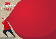 Holiday Winter Sale Banner - Santa Claus Pulling A Huge Heavy Bag Of Gifts