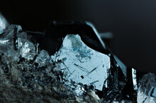 Hematite Specimen Close-up Macro Detail Semi-precious Gemstone Texture With Quartz Inclusion