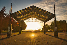 Maffeo Sutton Park - Marquee - The Sun Rises Between The Beams Of The Marquee In October 2021