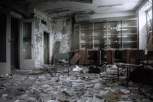 An Old Abandoned Library. Lots Of Books On The Floor. A Ray Of Light From The Window. A Chair In The Middle Of The Room. Scary Old Abandoned Library.