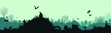 Panoramic Silhouette Of A Cemetery With Zombies. Halloween Holiday. Landscape With Dead People, Monsters And Crosses. Spooky Illustration Vector Illustration For Halloween. Eps 10