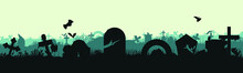Panoramic Silhouette Of The Cemetery Halloween Holiday. Landscape With Graves And Crosses. Spooky Illustration Vector Illustration. Eps 10
