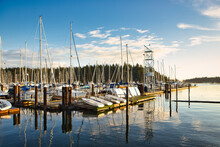 A View Of Townside Marina, Oceanside, Nanaimo, Vancouver Island, British Colombia, Canada On An Autumn Day At Sunrise Time.
