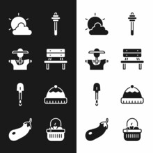 Set Bench, Scarecrow, Sun And Cloud Weather, Honey Dipper Stick, Shovel, Winter Hat, Basket Food And Eggplant Icon. Vector